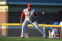 Brooklyn Cyclones first baseman Pedro Perez (10) during a game against the Batavia Muckdogs on August 9, 2014 at Dwyer Stadium in Batavia, New York.  Batavia defeated Brooklyn 4-2.  (Mike Janes/Four Seam Images)