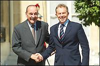 Sommet Franco-Britannique en prÈsence de Tony BLAIR au palais de l'ElysÈe. Jacques CHIRAC & Tony BLAIR #