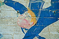 ©Si Barber 07739 472 922. <br /> A mural depicting sailor and a mermaid (probably Fleet Air Arm) in derelict buildings at former US Air Force base RAF Flixton, Suffolk.<br /> <br /> USAGE TERMS: ONE USE IN PRINT AND ONLINE. NO SYNDICATION, RETENTION, OR THIRD PARTY SALES. MINIMUM FEES APPLY