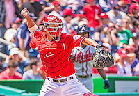 14 April 2013: Washington Nationals catcher Kurt Suzuki in action during a game against the Atlanta Braves at Nationals Park in Washington, DC. The Braves shut out the Nationals 9-0 to sweep their 3-game series. Mandatory Credit: Ed Wolfstein Photo *** RAW (NEF) Image File Available ***