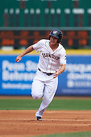 Erie Seawolves outfielder Jason Krizan (14) running the bases during a game against the Harrisburg Senators on August 30, 2015 at Jerry Uht Park in Erie, Pennsylvania.  Harrisburg defeated Erie 4-3.  (Mike Janes/Four Seam Images)