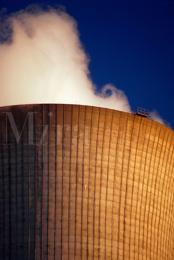 Close up of the smokestack of an energy power plant.