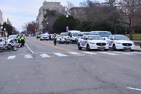 Washington, DC - January 6, 2021: DC Metropolitan Police assist with protecting the U.S. Capitol as thousands of protesters in support of President Donald Trump surround the U.S. Capitol building January 6, 2021.  (Photo by Don Baxter/Media Images International)