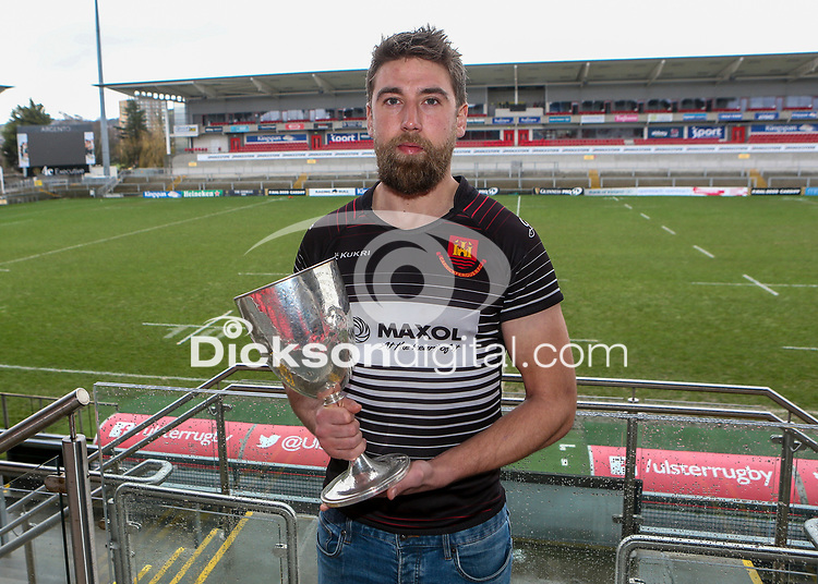 Monday 24th February 2020 | Deep River Rock Ulster Towns Cup Semi-Final Draw<br /> <br /> Pictured with the Deep River Rock Ulster Towns Cup is Carrick captain Johnny Sherriff. Photo by John Dickson / DICKSONDIGITAL