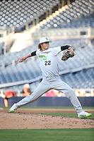 Blayne Enlow (22) of the East Team pitches against the West Team during the Perfect Game All American Classic at Petco Park on August 14, 2016 in San Diego, California. West Team defeated the East Team, 13-0. (Larry Goren/Four Seam Images)
