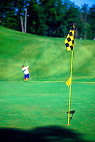 Golf green with black and yellow checkered flag and golfer in the background. Cumming, Georgia.