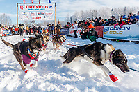 Michelle Phillips leaves the start on Willow Lake at the Official Start of the 2018 Iditarod Sled Dog Race in Willow, Alaska on March 04, 2018. <br /> <br /> Photo by Jeff Schultz/SchultzPhoto.com  (C) 2018  ALL RIGHTS RESERVED