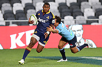 Highlanders Waisake Naholo heads for the try line in the Super 15 rugby match against the Waratahs, Forsyth Barr Stadium, Dunedin, New Zealand, Saturday, March 14, 2015. Credit: SNPA/Dianne Manson