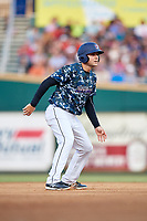 Jacksonville Jumbo Shrimp designated hitter Eric Jagielo (25) leads off second base during a game against the Mobile BayBears on April 14, 2018 at Baseball Grounds of Jacksonville in Jacksonville, Florida.  Mobile defeated Jacksonville 13-3.  (Mike Janes/Four Seam Images)