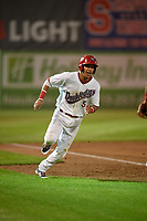 Auburn Doubledays second baseman Andres Martinez (5) runs the bases during a game against the State College Spikes on August 21, 2017 at Falcon Park in Auburn, New York.  Auburn defeated State College 6-1.  (Mike Janes/Four Seam Images)