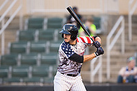 Jameson Fisher (11) of the Kannapolis Intimidators at bat against the Hickory Crawdads in game two of a double-header at Kannapolis Intimidators Stadium on May 19, 2017 in Kannapolis, North Carolina.  The Intimidators defeated the Crawdads 9-1.  (Brian Westerholt/Four Seam Images)
