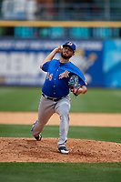 Durham Bulls pitcher Jake Faria (34) during an International League game against the Toledo Mud Hens on July 16, 2019 at Fifth Third Field in Toledo, Ohio.  Durham defeated Toledo 7-1.  (Mike Janes/Four Seam Images)