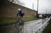 (eventual winner) Niki Terpstra (NLD/Etixx-QuickStep) creating a distance between him and his rivals on the wet cobbles of the Rue Belle Vue<br /> <br /> the race conditions were so extreme (wind, hail, rain, cold) that only 28 of the 188 starters actually finished this 2016 edition of the GP Samyn