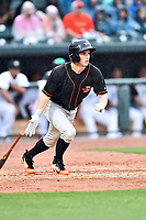 Northern Division center fielder Jake Ring (10) of the Delmarva Shorebirds swings at a pitch during the South Atlantic League All Star Game at Spirit Communications Park on June 20, 2017 in Columbia, South Carolina. The game ended in a tie 3-3 after seven innings. (Tony Farlow/Four Seam Images)