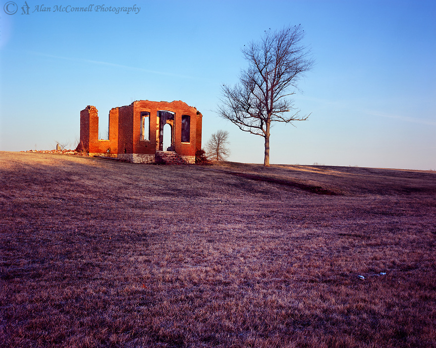 The ruins of the old Hedge Schoolhouse in rual Carroll County glows in the morning sunrise.