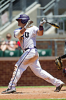 Catcher Josh Elander #24 of the Texas Christian University Horned Frogs swings during the NCAA Regional baseball game against the Ole Miss Rebels on June 1, 2012 at Blue Bell Park in College Station, Texas. Ole Miss defeated TCU 6-2. (Andrew Woolley/Four Seam Images)