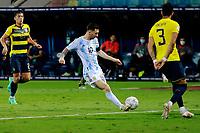 3rd July 2021, Estádio Olímpico Pedro Ludovico stadium, Goiânia, Brazil: Copa America Football tournament, Argentina versus Ecuador;   Lionel Messi of Argentina shoots on goal
