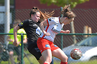 Geena Lisa Buyle (13) of Zulte Waregem and Anouck Cochez (4) of Woluwe  pictured during a female soccer game between SV Zulte - Waregem and White Star Woluwe on the 10 th and last matchday in play off 2 of the 2020 - 2021 season of Belgian Scooore Womens Super League , saturday 29 of May 2021  in Zulte , Belgium . PHOTO SPORTPIX.BE | SPP | DIRK VUYLSTEKE