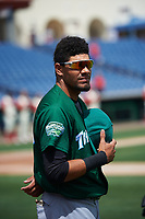 Daytona Tortugas center fielder Jonathan Reynoso (40) during the national anthem before a game against the Clearwater Threshers on April 20, 2016 at Bright House Field in Clearwater, Florida.  Clearwater defeated Daytona 4-2.  (Mike Janes/Four Seam Images)