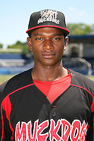 June 16, 2009:  D'Marcus Ingram of the Batavia Muckdogs poses for a head shot before the teams practice at Dwyer Stadium in Batavia, NY.  The Batavia Muckdogs are the NY-Penn League Single-A affiliate of the St. Louis Cardinals.  Photo by:  Mike Janes/Four Seam Images