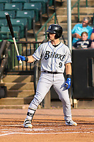 Biloxi Shuckers left fielder Cooper Hummel (9) at bat during a Southern League game against the Jackson Generals on June 14, 2019 at The Ballpark at Jackson in Jackson, Tennessee. Jackson defeated Biloxi 4-3. (Brad Krause/Four Seam Images)