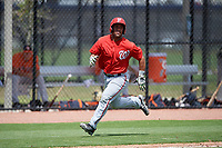 Washington Nationals Adderling Ruiz (27) runs home during a minor league Spring Training game against the Houston Astros on March 28, 2017 at the FITTEAM Ballpark of the Palm Beaches in West Palm Beach, Florida.  (Mike Janes/Four Seam Images)