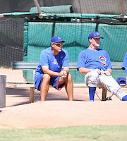 Greg Maddux - Chicago Cubs - 2010 Instructional League. Former pitching great Maddux is an instructor in the Cubs Instructional League camp. He is watching a game against the Brewers at Fitch Park, Mesa, AZ with pitcher Casey Harman - 09/23/2010.Photo by:  Bill Mitchell/Four Seam Images..