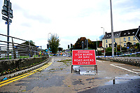 Pictured: Road closures in place due to floods caused by Storm Callum, in Carmathen, Wales, UK. Sunday 14 October 2018<br /> Re: The aftermath of the flood caused by the unusually high tide of rover Towy and storm Callum in Carmarthen west Wales, UK.