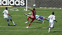 Toronto fc forward (96) Jeff Cunningham scores the winning goal late in the second half during a MLS game. Toronto fc defeated the LA Galaxy 3-2 at the Home Depot Center Carson, California, Sunday April 13, 2008.