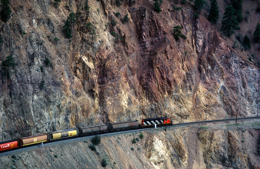 Canadian Pacific Railway train along the Colombia River Valley, Invermere, BC, Canada