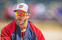 20 April 2013: Washington Nationals outfielder Bryce Harper stretches out prior to a game against the New York Mets at Citi Field in Flushing, NY. Harper went 3 for 3 with 3 RBIs and two home runs as the Nationals defeated the Mets 7-6 to tie their 3-game series at one a piece. Mandatory Credit: Ed Wolfstein Photo *** RAW (NEF) Image File Available ***
