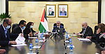 Palestinian Prime Minister Mohammad Ishtayeh, chairs a meeting of the vaccine follow-up cell, in the West Bank city of Ramallah, on March 10, 2021. Photo by Prime Minister Office
