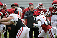 Arkansas coach Sam Pittman directs his players Saturday, April 3, 2021, during a scrimmage at Razorback Stadium in Fayetteville. Visit nwaonline.com/210404Daily/ for today's photo gallery. <br /> (NWA Democrat-Gazette/Andy Shupe)