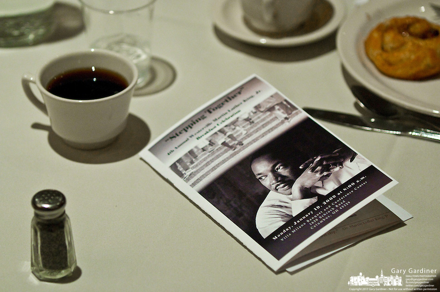 The program for the Westerville, Ohio, Martin Luther King Day celebration sits on a table. Photo Copyright Gary Gardiner. Not be used without written permission detailing exact usage.