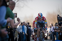 Bob JUNGELS (LUX/Deceuninck-Quick Step) up the Oude Kwaremont<br /> <br /> 62nd E3 BinckBank Classic (Harelbeke) 2019 <br /> One day race (1.UWT) from Harelbeke to Harelbeke (204km)<br /> <br /> ©kramon