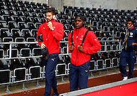 Olivier Giroud and Joel Campbell of Arsenal arrive before the Barclays Premier League match between Swansea City and Arsenal played at The Liberty Stadium, Swansea on October 31st 2015