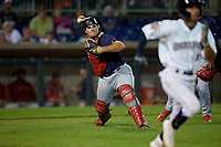 State College Spikes catcher Pedro Pages (43) throws to first base during a NY-Penn League game against the Mahoning Valley Scrappers on August 29, 2019 at Eastwood Field in Niles, Ohio.  State College defeated Mahoning Valley 8-1.  (Mike Janes/Four Seam Images)