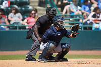 Charleston RiverDogs catcher Eduardo Navas (20) sets a target as home plate umpire James Jean looks on during the game against the Hickory Crawdads at L.P. Frans Stadium on May 13, 2019 in Hickory, North Carolina. The Crawdads defeated the RiverDogs 7-5. (Brian Westerholt/Four Seam Images)