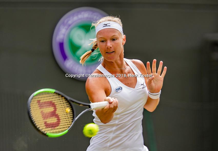 London, England, 10 th. July, 2018, Tennis,  Wimbledon, Womans single quarter final: Kiki Bertens (NED) in her match against Julia Goerges (GER)<br /> Photo: Henk Koster/tennisimages.com