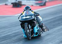 Jul 19, 2019; Morrison, CO, USA; NHRA pro stock motorcycle rider Jianna Salinas during qualifying for the Mile High Nationals at Bandimere Speedway. Mandatory Credit: Mark J. Rebilas-USA TODAY Sports