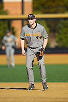 Missouri Tigers first baseman Eric Anderson (44) on defense against the Radford Highlanders at Wake Forest Baseball Park on February 21, 2014 in Winston-Salem, North Carolina.  The Tigers defeated the Highlanders 15-3.  (Brian Westerholt/Four Seam Images)