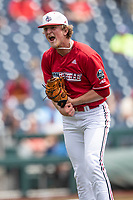 Louisville Cardinals pitcher Michael McAvene (41) celebrates a strike out to end the 8th inning during Game 7 of the NCAA College World Series against the Auburn Tigers on June 18, 2019 at TD Ameritrade Park in Omaha, Nebraska. Louisville defeated Auburn 5-3. (Andrew Woolley/Four Seam Images)