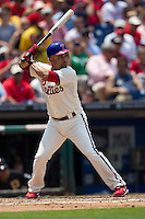 Philadelphia Phillies third baseman Placido Polanco #27 at bat during the Major League Baseball game against the Pittsburgh Pirates on June 28, 2012 at Citizens Bank Park in Philadelphia, Pennsylvania. The Pirates defeated the Phillies 5-4. (Andrew Woolley/Four Seam Images).