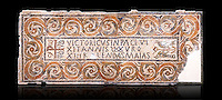 "Fifth century Eastern Roman Byzantine  Christian funerary mosaic dedicated to Leontia.  The Constantinian monogram depicting the Christian Chi-Rho symbol used by the Roman emperor Constantine I as part of his military standard (vexillum).  The inscription in the cartouche reads "" Leontia in peace and harmony with God, entered into eternal life on the Sixth Ides of October"". Two birds and cut Roses occupy the rest of the mosaic. <br />