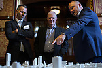 © Joel Goodman - 07973 332324 - all rights reserved . No onward sale/supply/syndication permitted . 28/07/2016 . Manchester , UK . RYAN GIGGS (l) and architects look at a proposed model of the site . Launch of the St Michael's city centre development , at the Lord Mayor's Parlour in Manchester Town Hall . Backed by The Jackson's Row Development Partnership (comprising Gary Neville , Ryan Giggs and Brendan Flood ) along with Manchester City Council , Rowsley Ltd and Beijing Construction and Engineering Group International , the Jackson's Row area of the city centre will be redeveloped with a design proposed by Make Architects . Photo credit : Joel Goodman