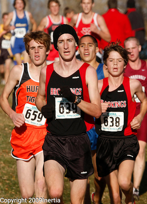 RAPID CITY, SD -- OCTOBER 24, 2009 -- Dillon Emo of Brookings leads a group with about 1000 meters to go in the boys class AA event  at the 2009 South Dakota State High School Cross Country Meet Saturday in Rapid City. (Photo by Dick Carlson/Inertia)