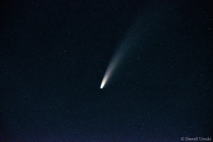 Comet C/2020 F3 (NEOWISE) is far to the north on the sky's dome, visible now (with optical aid) to observers in the northern U.S. and Canada in the early evening skies. This comet was photographed over the southern tip of Okanagan Lake in British Columbia.