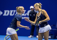Rotterdam, Netherlands, December 13, 2016, Topsportcentrum, Lotto NK Tennis,   Doubles: Suzan Lamens (L) and Nina Kruijer (NED)<br /> Photo: Tennisimages/Henk Koster