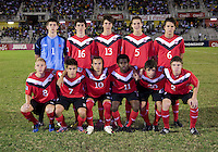 Canada lines up before the finals of the CONCACAF Men's Under 17 Championship at Catherine Hall Stadium in Montego Bay, Jamaica. The United States defeated Canada, 3-0, in overtime