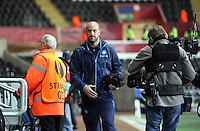 Swansea, UK. Thursday 20 February 2014<br /> Pictured: Pepe Reina of Napoli (C) arriving.<br /> Re: UEFA Europa League, Swansea City FC v SSC Napoli at the Liberty Stadium, south Wales, UK